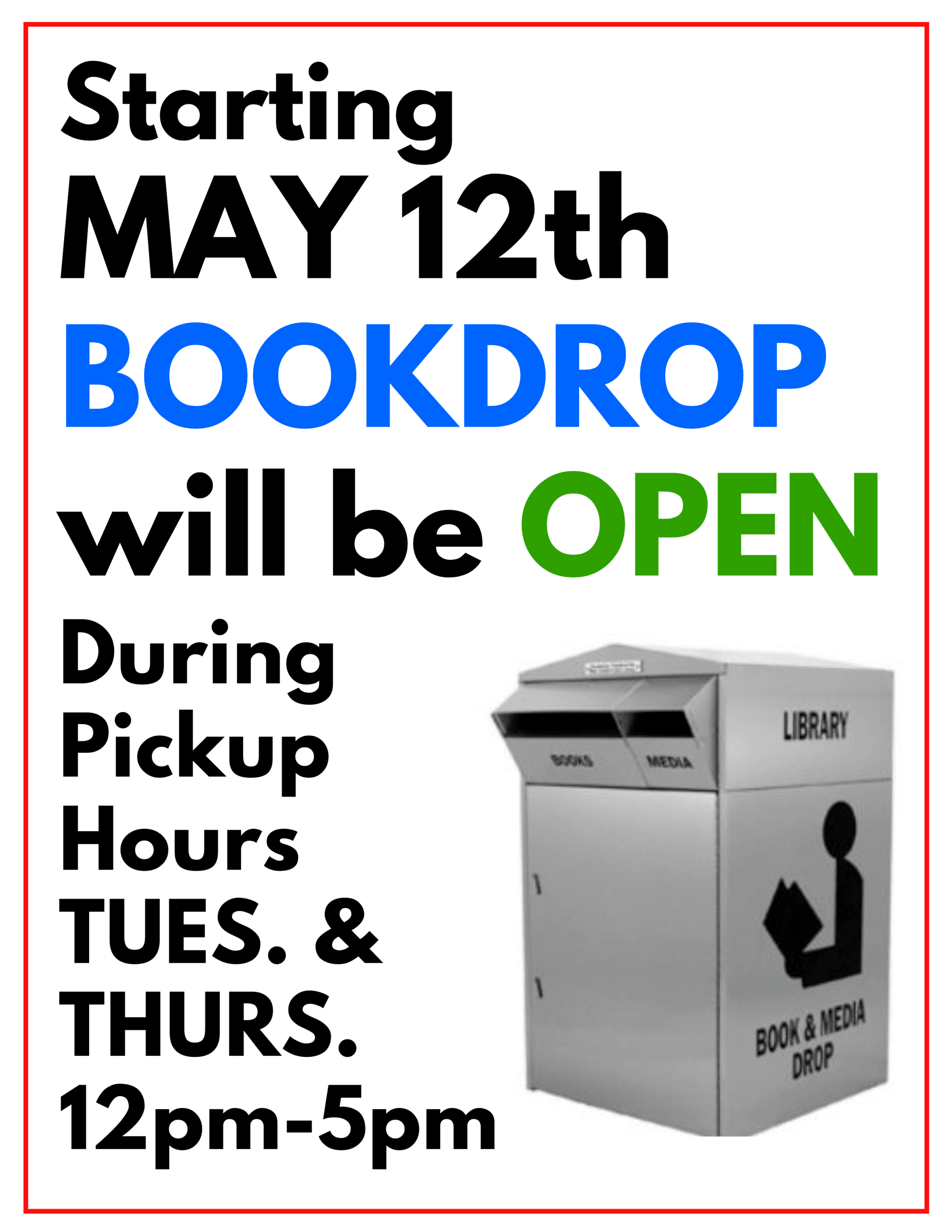 Bookdrop will open on  PNg